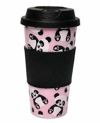 AMANDA The PANDA TRAVEL MUG - ECO CUP Plastic TRAVEL Mug & Lid - BLACK Pink