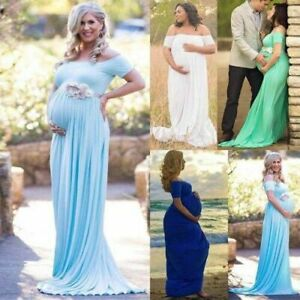 Womens-Maternity-Lace-Dress-Pregnant-Photography-Props-Maxi-Photo-Shoot-Gown