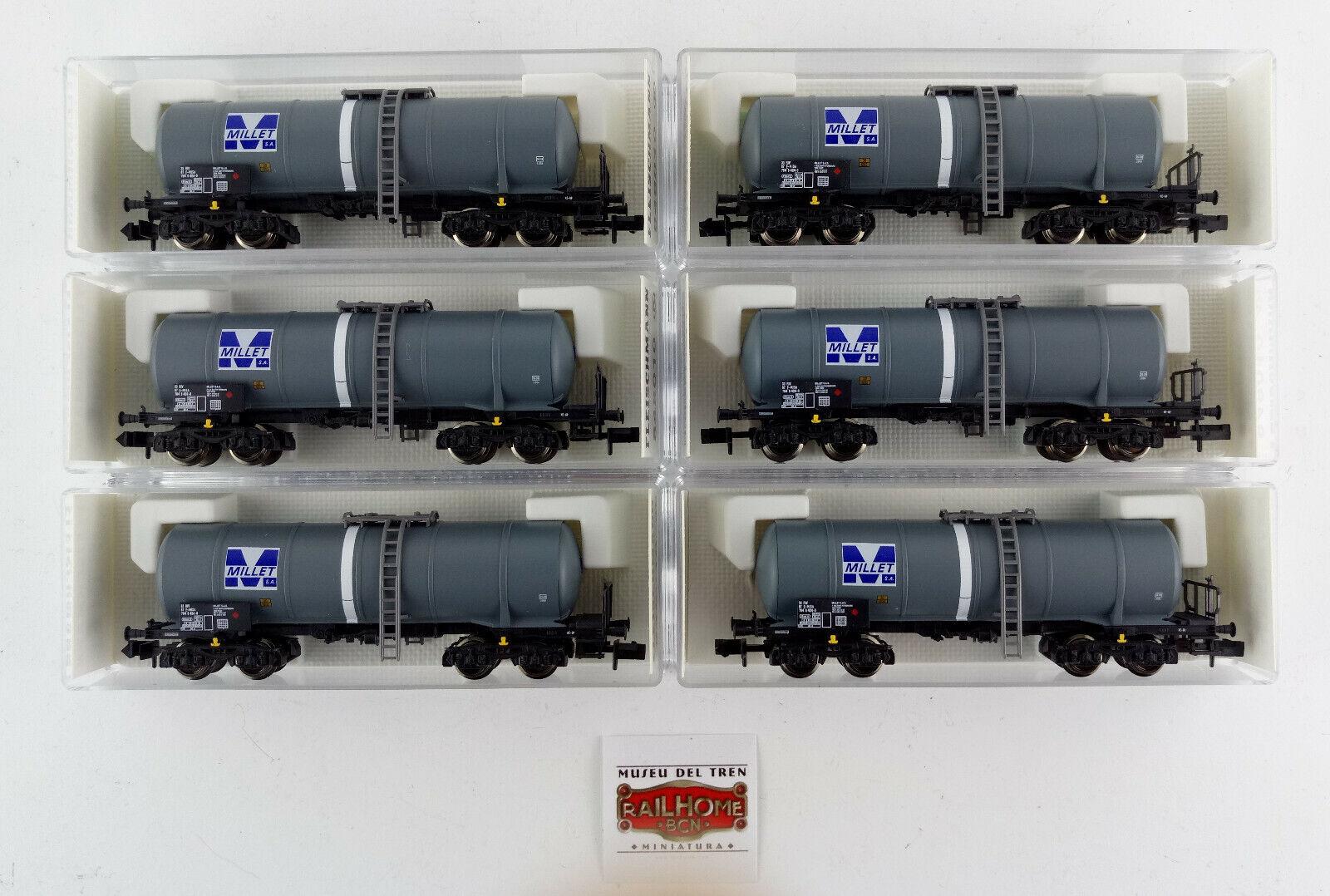 Fleischmann N 848010 - - - Lot 6 Wagons Cistern   Millet   SNCF - near Mint (NM) - 0eed01