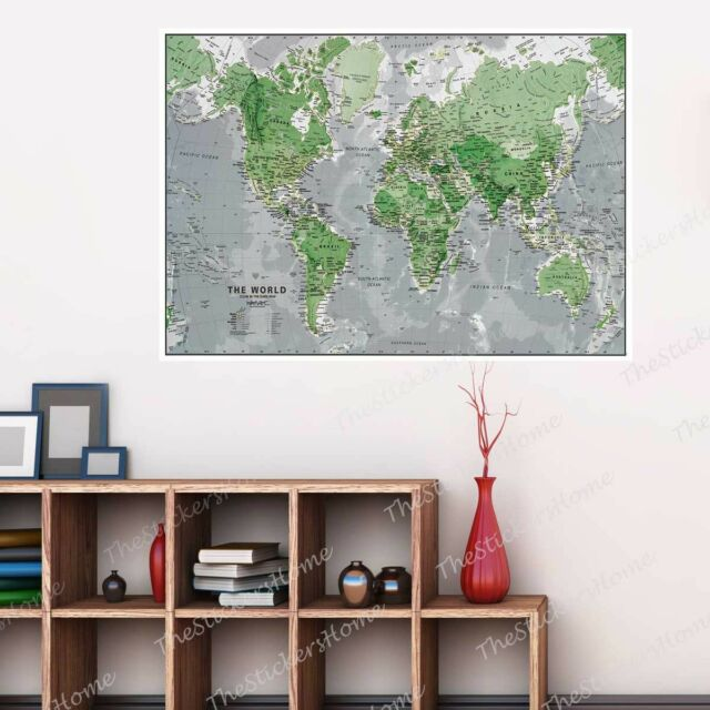 GLOW IN THE DARK MAP OF THE WORLD POSTER WALL DECORATION KIDS EDUCATIONAL PRINT