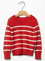 Gap Kids Girls Breton Stripe Button Crew Neck Sweater Pullover Red S 6 7 $40