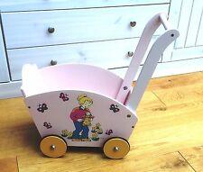 Puppenwagen aus Holz Laufwagen Lauflernwagen notalgisch rosa Holzpuppenwagen neu