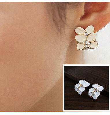 Cute Gardenia Flower Crystal Ear Studs Rhinestone Earrings Ear Hoop Buckle Women