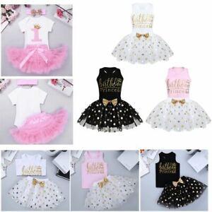 Infant Baby Birthday Party Princess Outfits Girls Kids Bow Tutu Skirts Dress Set