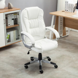 Strange Details About White Pu Leather High Back Office Chair Executive Ergonomic Computer Desk Task Pdpeps Interior Chair Design Pdpepsorg