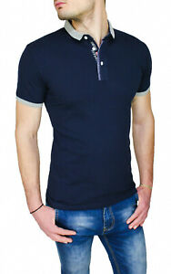 Maglia-polo-uomo-Diamond-shirt-blu-casual-slim-fit-aderente-skynny-da-S-a-XXL