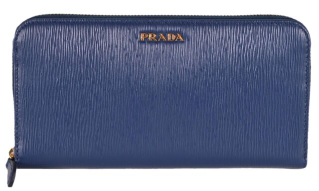 9d496f1f82b0 New Prada Women's 1ML506 2BNC Blue Saffiano Leather Zip Around Wallet Clutch