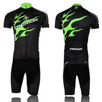 Merida Pro Team Men's Summer Cycling Jersey Set/bike Sports Clothing Green Fire