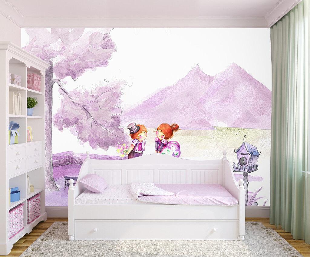 3D Karikatur Mädchen Berg 9785 Tapete Wandgemälde Tapeten Bild Familie DE Jenny
