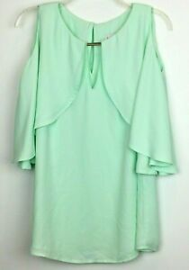 Joseph-Ribkoff-Size-12-Top-Evening-Mint-Green-Polyester-Layered-Flowing-Lined