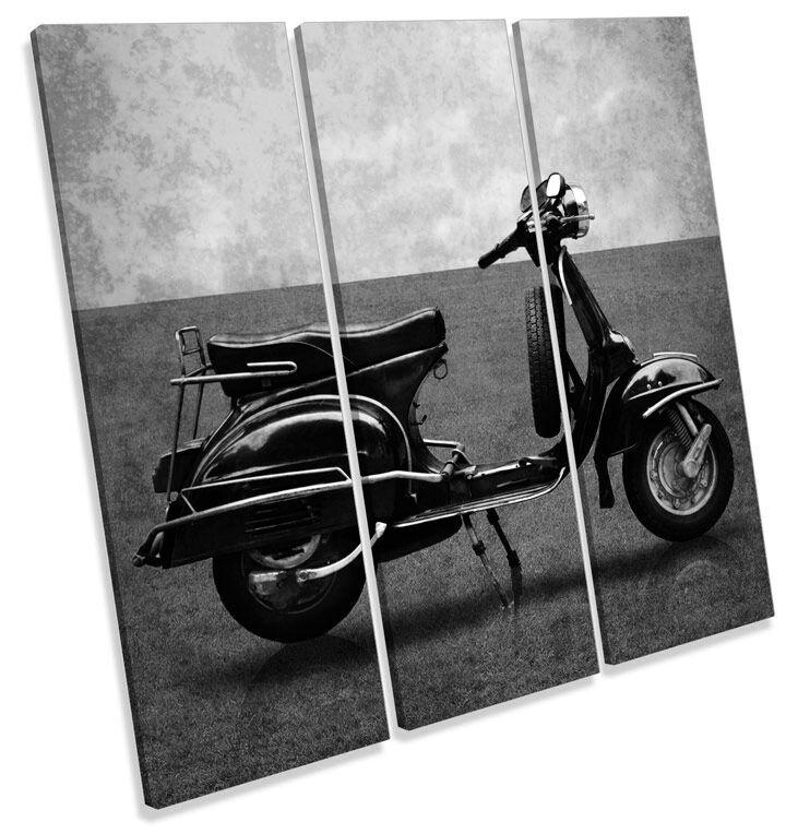 Vintage Scooter B&W CANVAS Wand Kunst TREBLE Square Drucken Bild