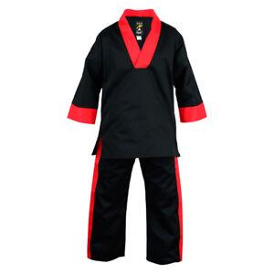 Playwell Schwarz/Rot V Ausschnitt Uniform Erwachsene Kampfsport Gi Für Freistil