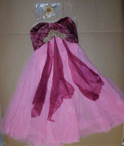 NWT LYRICAL BALLET DANCE COSTUME ch//Ad Chiffon Flyers Gold Braid Rose clearstrp
