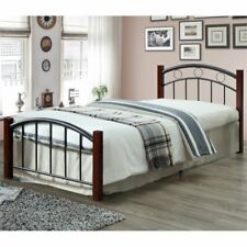Hodedah Complete Metal Platform Bed with Headboard Footboard Twin Size in Black