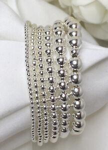 Sterling-Silver-Bead-Stretch-Bracelet-Stackable-Bracelet-Variety-of-Sizes