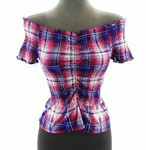 Almost-Famous-Juniors-Top-Off-The-Shoulder-Red-White-Blue-Plaid-Stretch-Size-M