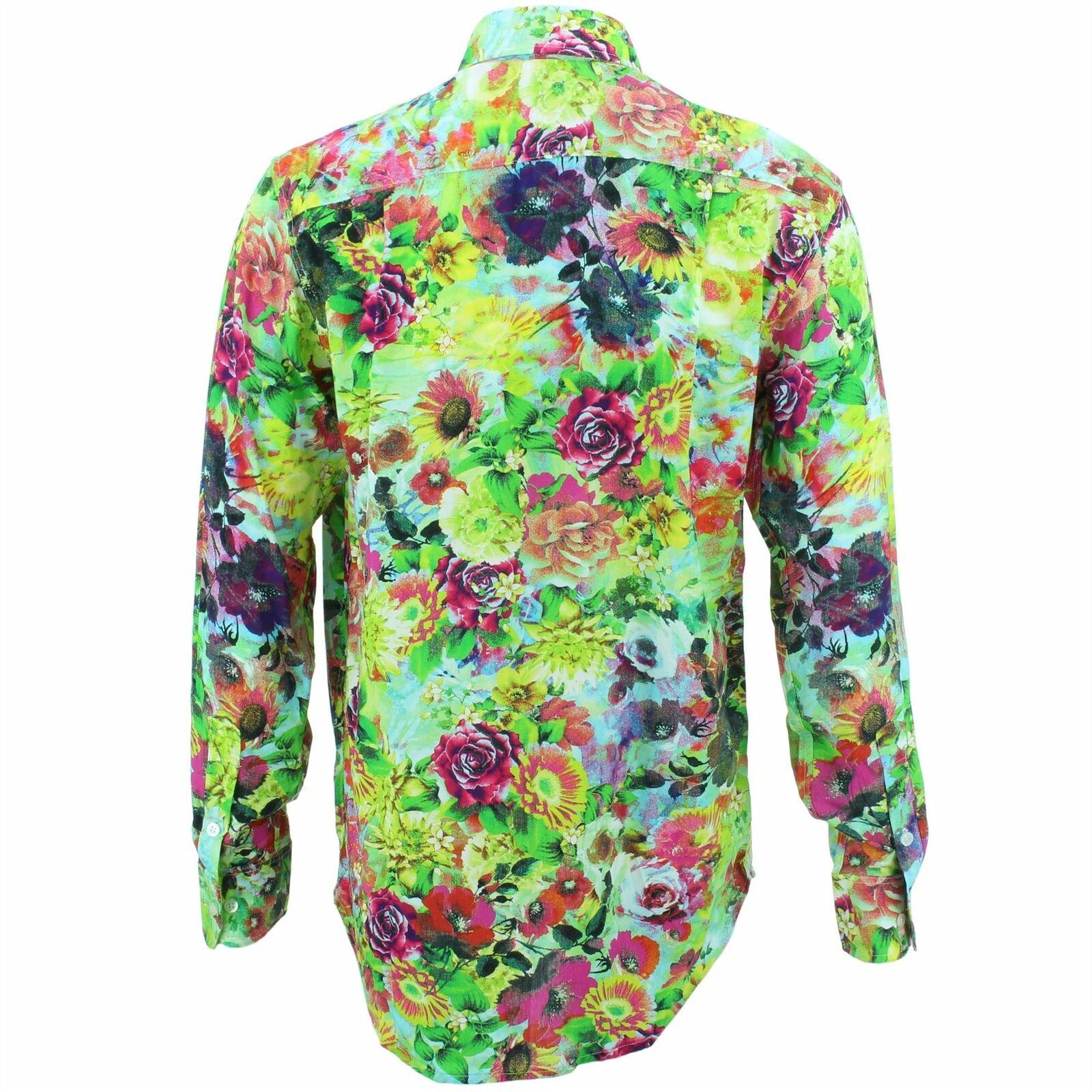 Mens Shirt Loud Originals REGULAR FIT FIT FIT Floral Grün Retro Psychedelic Fancy  | Sonderpreis  24aec0