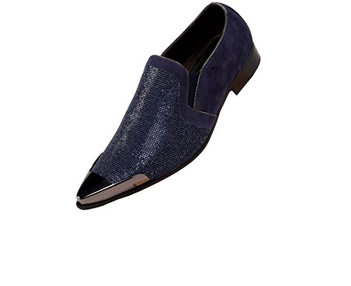Bolano Mens Navy Navy Mens Suede with Metal Tip Slip On Dress schuhe Dezzy-002 b4011f