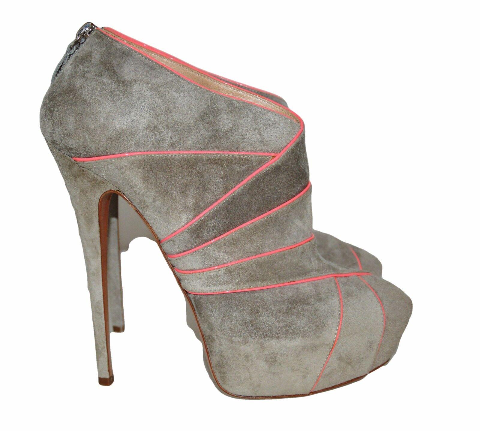 modelo más vendido de la marca Suede Casadei Platform Booties Queen Suede marca Grey Pink tacón alto botines Icon 40 ec0c20