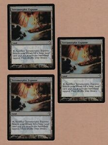 MTG-3X-Terramorphic-Expanse-X3-Land-PDS-Slivers-NM-MT-3-Foil-Cards