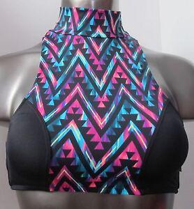 40ab6b5b3f7d2 Victoria s Secret PINK Dark Aztec Geo Racerback High Neck Bikini Top ...