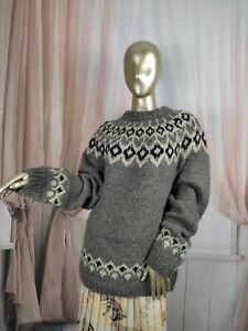 Chunky Wool Fair Isle Patternt Vintage Jumper Jacket Cardigan Size Medium