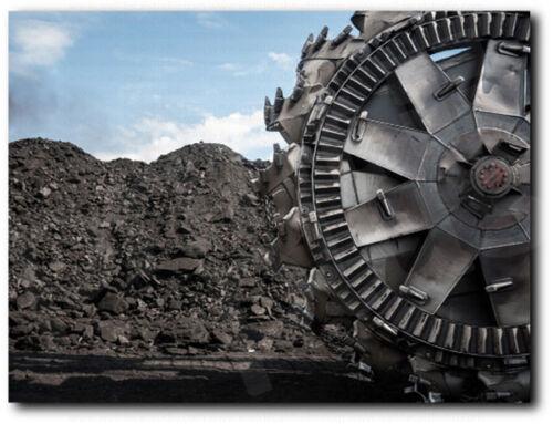 Coal Mining Excavator Wheel Closeup Canvas Art Poster Print Home Wall Decor