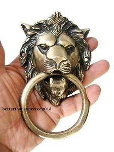 VINTAGE-ANTIQUE-STYLE-HAND-MADE-SOLID-BRASS-LION-DOOR-KNOCKER