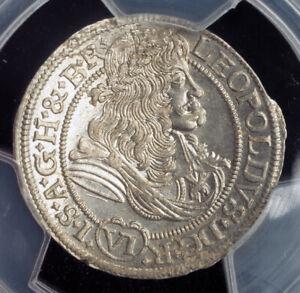 1678-Silesia-Emperor-Leopold-I-Silver-6-Kreuzer-Breslau-Top-Pop-PCGS-MS64