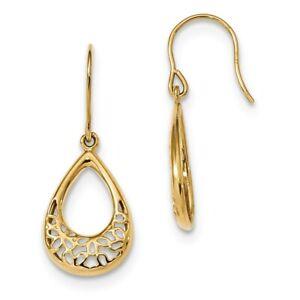 Fancy Chandelier Teardrop Dangle Earrings Shepherd/'s Hook REAL 14K Yellow Gold
