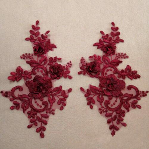 1Pair 3D Applikation Spitze Blumen Bestickt Patch Rand DIY Hochzeit Kleid