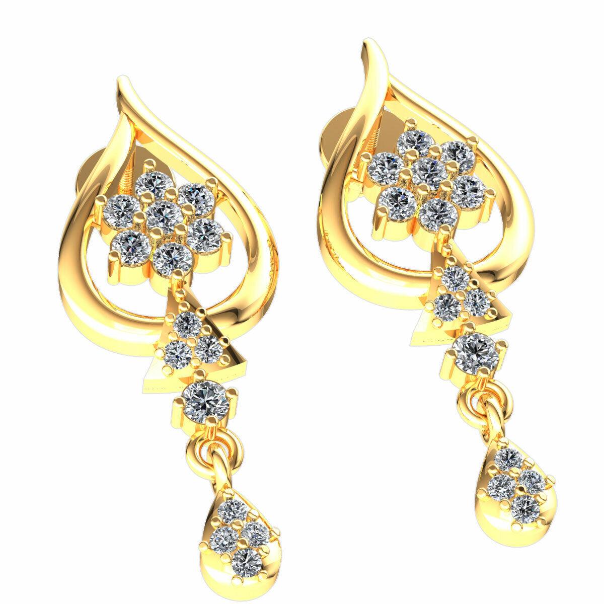 0.3ct Round Cut Not Enhanced Diamond Ladies Cluster Dangle Earrings 10K gold