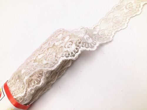 5//15yards  Lace  beige Trim Stretch Ribbon For Headband Clothing Ornament