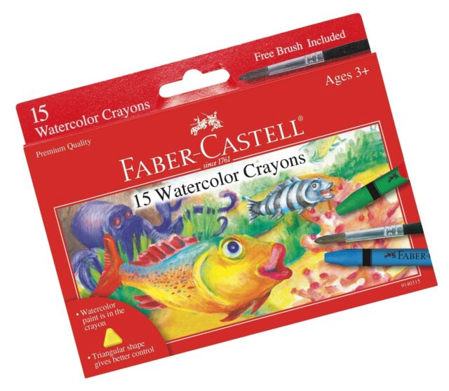 fabercastell watercolor crayons with brush 15 colors