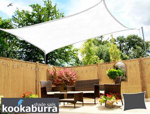 Details about Kookaburra Bright White Breathable Shade Sail Garden Patio UV  Sun Screen Canopy