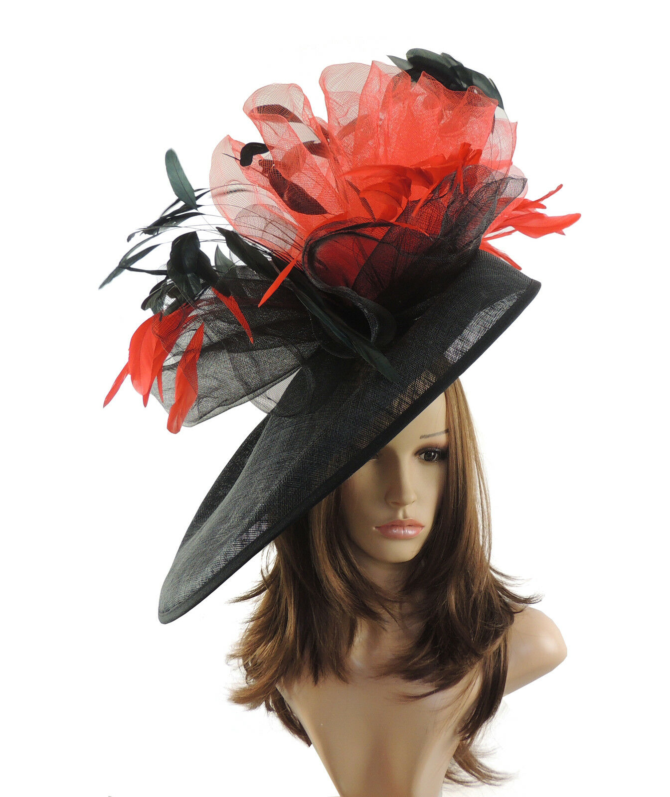 Black & Red Large Ascot Hat for Weddings, Ascot, Derby M10