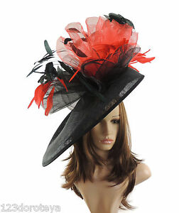 Black-amp-Red-Large-Ascot-Hat-for-Weddings-Ascot-Derby-M10
