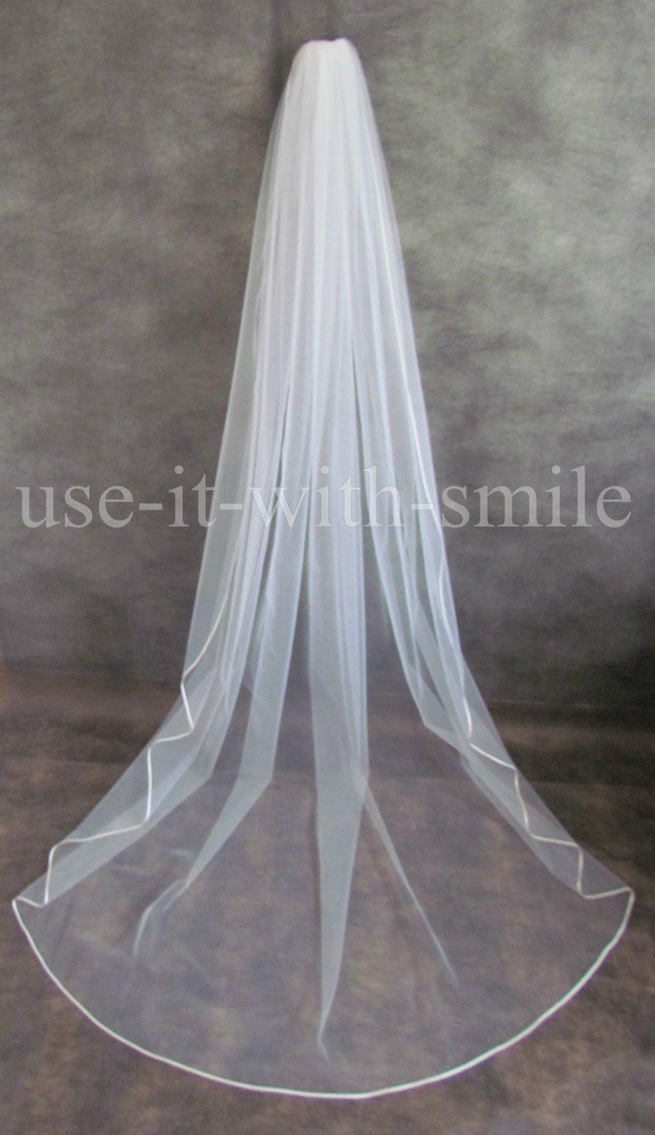 98'' 1 Tier LIGHT Ivory Chapel Veil Wedding Bridal Satin Edge Swarovski NEW