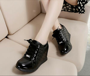 New Womens Fashion Lace Up Checker High Top Hidden Wedge Heel Sneaker Trainer YE