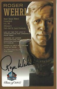 Roger Wehrli St. Louis Cardinals  Football Hall Of Fame Autographed Bust Card
