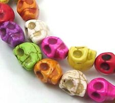 16 small Turquoise Carved Skull Beads Halloween