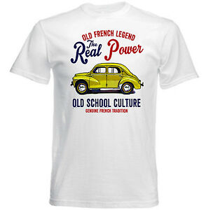 VINTAGE-FRENCH-CAR-RENAULT-4CV-YELLOW-NEW-COTTON-T-SHIRT