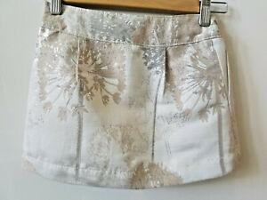 *NEW!* GapKids Girls' Mini Skirt Brocade White Metallic Adjustable Waist Lined 7