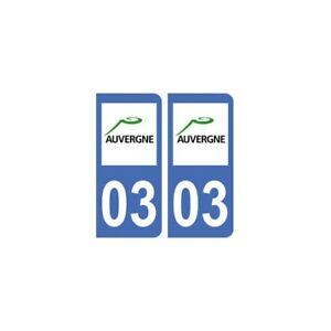 03 Allier Autocollant Département Plaque Sticker Plaque Immatriculation - Angle Performance Fiable