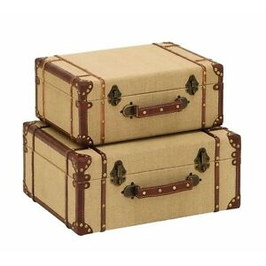 Vintage Luggage Suitcases Wooden Old Look Storage Box Decorative ...
