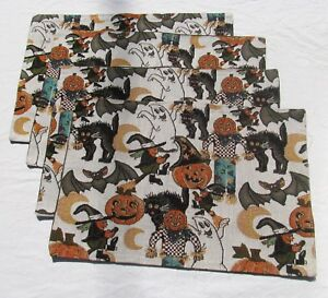 Set-of-4-Tapestry-Placemats-lot-Witch-Ghost-Halloween-Autumn-Fall-Table-Decor