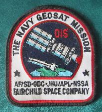 THE NAVY GEOSAT MISSION, AF/SD-GDC-JHU/APL-NSSA FAIRCHILD SPACE CO. PATCH