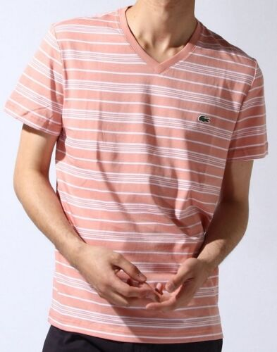 NWT Lacoste Men/'s Contemporary V-Neck Striped T-Shirt Cotton Tee