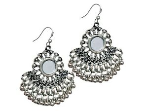Indian Women/'s Gold Oxidized Fashion Jewelry Bollywood Afghani Mirror Earrings