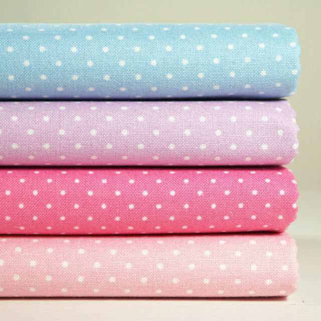 Lot of 4 Fat Quarters Tiny Dot Print 100% Cotton Fabric Sewing Craft s-050
